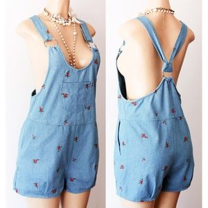 ebc0bd665f Denim Rose Embroidery Dungaree Cute Overall Shorts